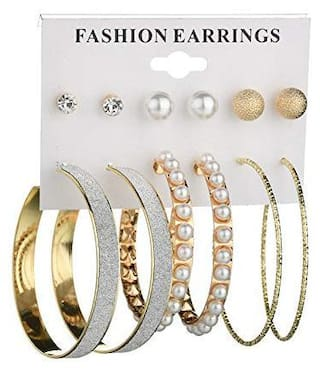 Jewels Galaxy Amazing AAA AD & Pearl Swanky 6 Pair of Stud & Hoop Earrings