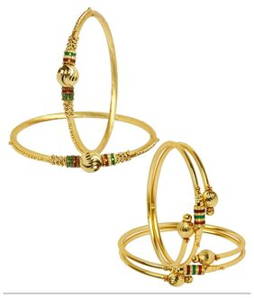 Jewels Galaxy Combo of Trendy Gold Plated Bangles Set Of 4
