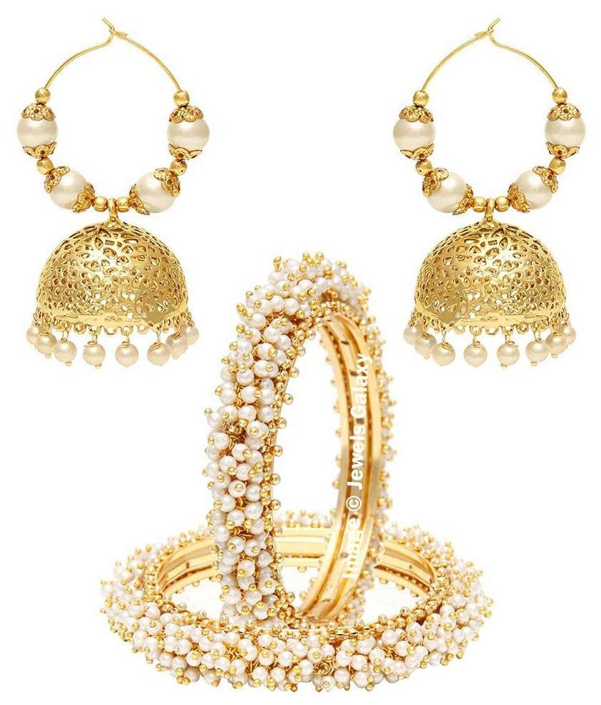Jewels Galaxy Bridal Collection Royal Bangles Set, Pair Of Traditional Jhumki Earrings   Combo of 2 by Jewels Galaxy