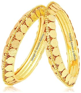 Jewels Galaxy Gold Plated Coinage Bangles Collection - Set Of 2