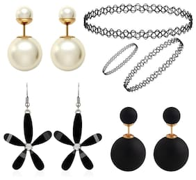 Jewels Galaxy Exclusive Trendy Multicolor Ball Shaped Stud And Drop Earrings Combo With Necklace, Bracelet And Ring