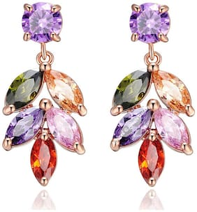 Jewels Galaxy Colourful Crystal Elements Exclusive Leaf Designer 18K Rosegold Plated Splendid Earrings For Women & Girls