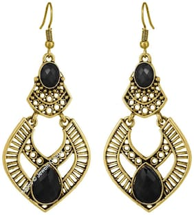 Jewels Galaxy Exclusive Gold Plated Chandelier Designer Earrings With Black Gemstones