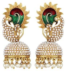 Jewels Guru Exclusive Golden White Multi Earrings