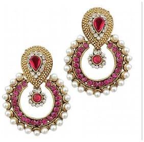 Jewels Guru  Exclusive Golden Pink White  Earring  Set