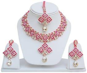 jewels guru exclusive designer Pink necklace set