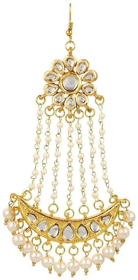 Jewels Kafe Kundan Golden White Passa Hair Clip For Women