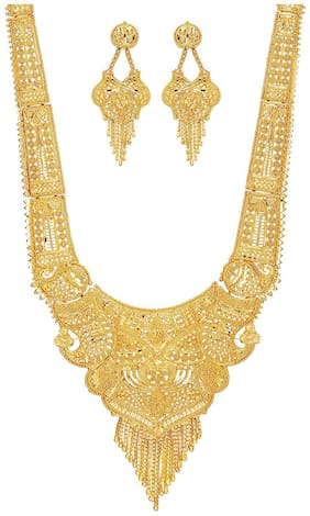 Jewels Kafe Party One Gram Gold Wax Forming Work Rani Haar Necklace Jewellery Set for Women(9 Inch Long)