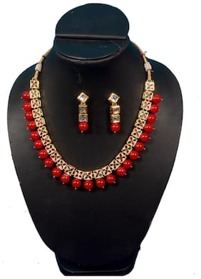Jinagam Traditional Gold Plated Kundan Pearl Choker Necklace Set Earrings For Women And Girls(Red)