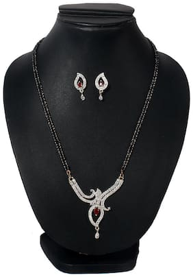 Jinagam Traditional Gold Plated and American Diamond Mangalsutra With Earrings for Women(Silver)
