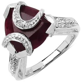 Johareez Red Sterling Silver Ring (Size-7.5)