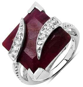 Johareez Red Sterling Silver Ring (Size-7)