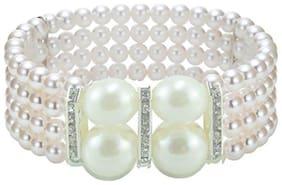 JSD White Big Pearl Moti Bracelet for Womena and Girls_Adjustable