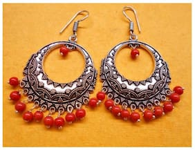 KAIYNAT SILVER OXIDISED FANCY BOLLYWOOD STYLE EARRINGS FOR GIRLS