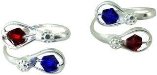KAMADA CREATIONS Designer Toe Rings For Women Silver;White