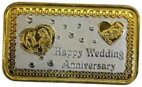 Kataria Jewellers Happy Wedding Anniversary 10 Grams Silver Bar Coin in 999 Purity Hallmarked Silver in Rhodium Polish