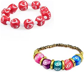 KIARVI GALLERY Pink and Multi SIX Pattern Terracotta/Clay Artificiality Hand Made Bracelet for Girl and Women