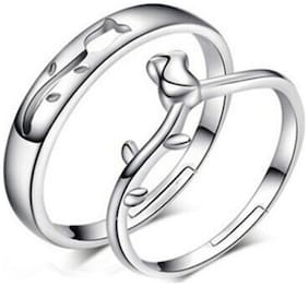 King & Queen Sterling Silver Swarovski Zirconia Adjustable Couple Rings