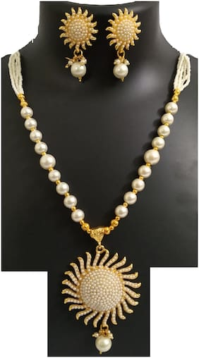 Kisara Jewels Gold Toned Moti Mala & Pendant Necklace Set