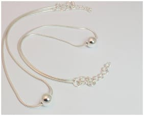 KUKSHYA 925 Silver 1 Ball Moving Anklets Sterling Silver