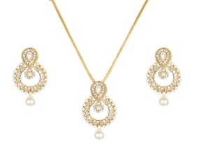 edb749f98e5794 Lady Touch American Diamond Gold Plated Small Ramleela Pearl Pendant Set  for Girls & Women