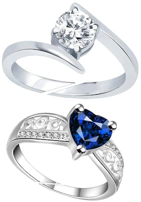 6a77ee718e Lady touch Combo Of Blue Heart Silver Diamond Adjustable Rings For Girls  And Women's (Set