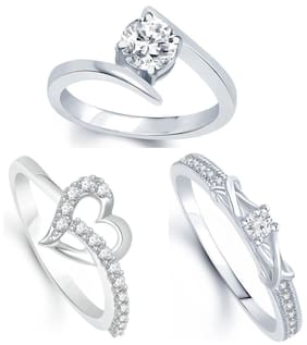 Lady touch Combo of Surprise Delight Rhodium Silver Plated Solitare Ring For Women's (Free Size)