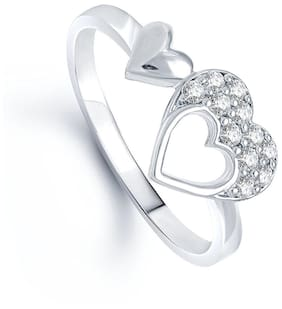 1fff903fbe07f5 Lady touch Double Heart (Cz) Rhodium Plated Ring For Girls & Women 's_Adjustable