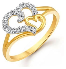 97c1591827 Lady touch Gold & Rhodium Plated American Diamond Cz Ring For Girls And  Women Fr401
