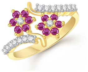 7975052e97ffa5 Lady touch Ruby Ring 24K Fancy Flower Party Wear Ring South Indian  Traditional Gold Ring For