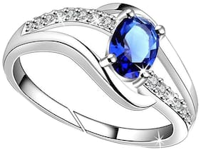 156e1f7c5f Lady touch Silver Plated Blue Diamond Ring For Girl's And Women's_Adjustable  ...