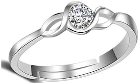 Lady touch Trendy Elegant Austrian Crystal Silver Platinium Plated CZ One Diamond Adjustable Finger Ring For Womens & Girls_Free size