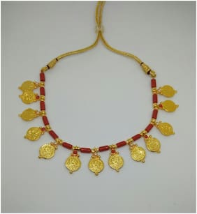Lakshmi necklace with coral beads