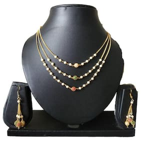 Latest designer alloy 3 step necklace with earrings