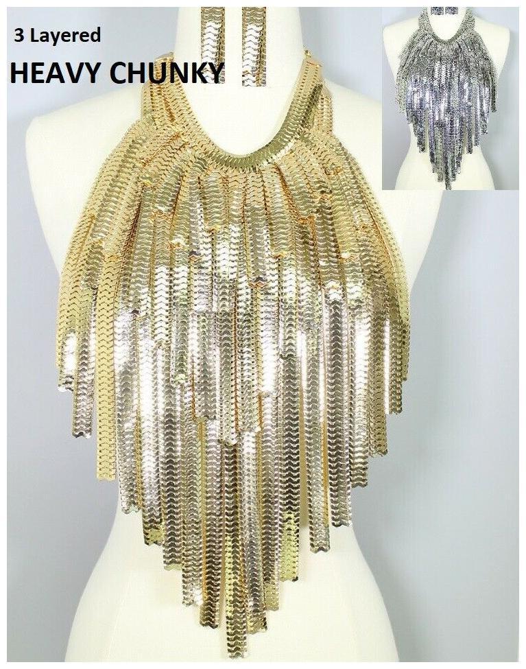 Statement Necklace Fringe Choker Body Jewelry Chain Long Mesh Metal Chunky Bib
