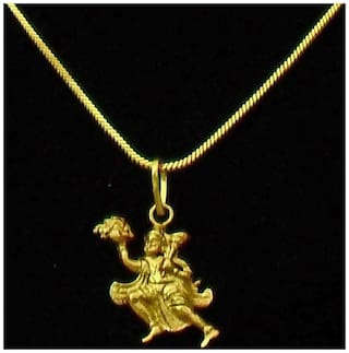 Lord Hanuman Gold Plated Religious God Pendant with Chain for Men & Women by Beadworks