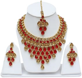 Lucky Jewellery Elegant LCT Golden Red Color Stone Necklace Set For Girls & Women