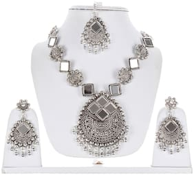 Lucky Jewellery Tribal Designer Oxidised German Silver Plated Mirror Work Navratri Garba Necklace Set with Matching Earring And Maang Tikka For Girls & Women (644-TSO-11939-S)