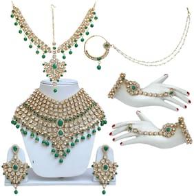 Alloy Green Kundan Necklace Set