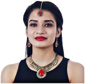Lucky Jewellery Fancy Black Metal Gold Oxidised Red Color Necklace Set With Earrings Tikka For Girls & Women (410-CHSO-LJ693-RED)