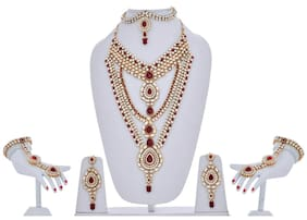 Lucky Jewellery Maroon Kundan Necklace Bridal Set