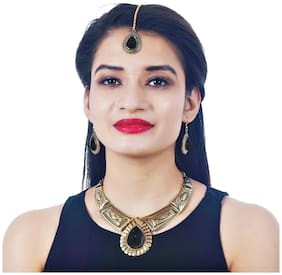 Lucky Jewellery Fancy Black Color Oxidised Gold Necklace Set With Earrings Tikka For Girls & Women (410-CHSO-LJ693-BL)