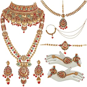 Lucky Jewellery Ethnic Copper Finish Bridal Matte Meenakari Multi Color Alloy Gold Plated Wedding Dulhan Shadi Jewellery Set For Girls & Women (4620-A4ZM2-222-M2-RED)