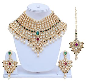 Lucky Jewellery Purple Green Semi Bridal Dulhan Wedding & Engagement Necklace set With Mang Tikka