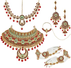 Lucky Jewellery Ethnic Copper Finish Bridal Matte Meenakari Multi Color Alloy Gold Plated Wedding Dulhan Shadi Jewellery Set For Girls & Women (4620-A4ZM2-1556SM-M2-RED)