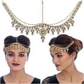 Lucky Jewellery Designer Gold Plated White Color Moti Pearl Maang Tikka Stone Damini Wedding Mathapatti For Girls & Women (413-L1PK-31-W)