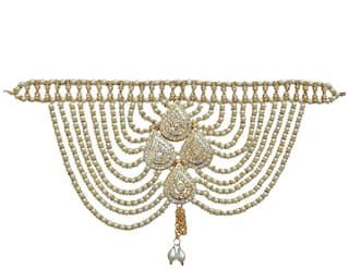 Lucky Jewellery Designer White Color Gold Plated Saree Sari Pearl Blouse Back Accessories Jewelry Brooch Pin For Girls & Women