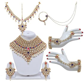 Lucky Jewellery Blue Bridal Dulhan Wedding & Engagement Necklace set With Mang Tikka