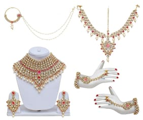 Lucky Jewellery Pink Blue Bridal Dulhan Wedding & Engagement Necklace set With Mang Tikka