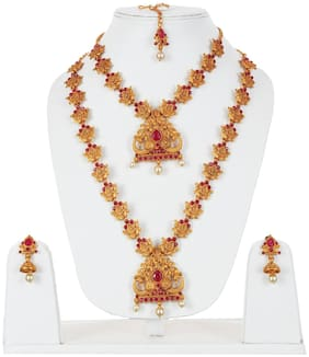 Lucky Jewellery Alloy Earring & Necklace and Maang tikka Set For Women